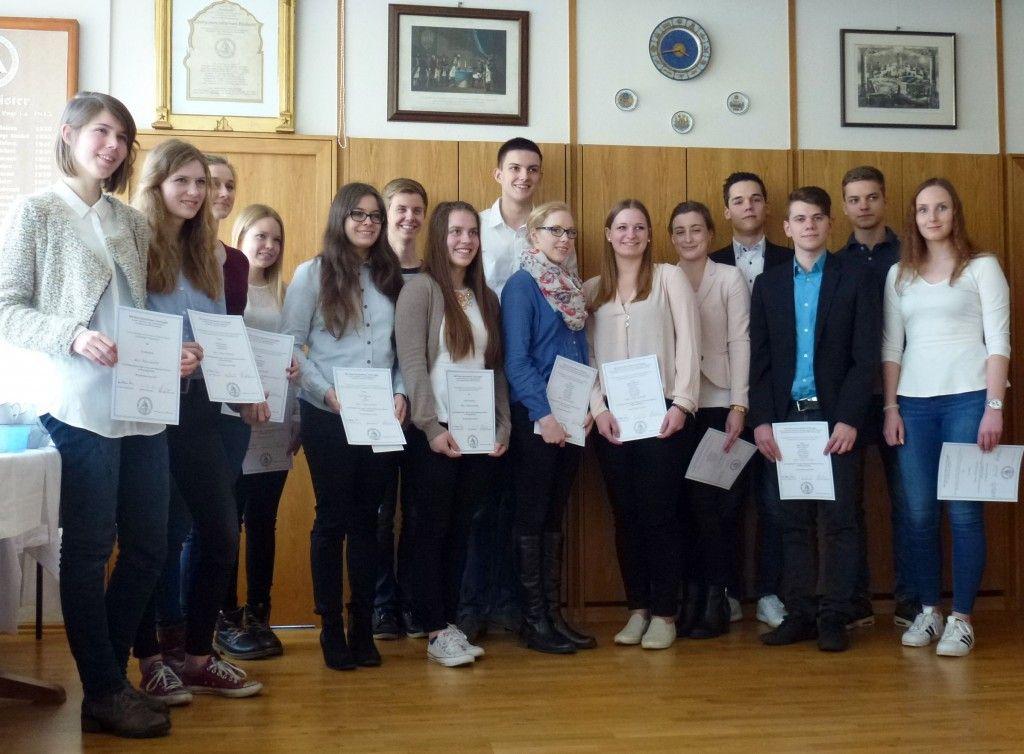 Die Preisträger im 2. Logen-Wettbewerb der Gymnasien 2016