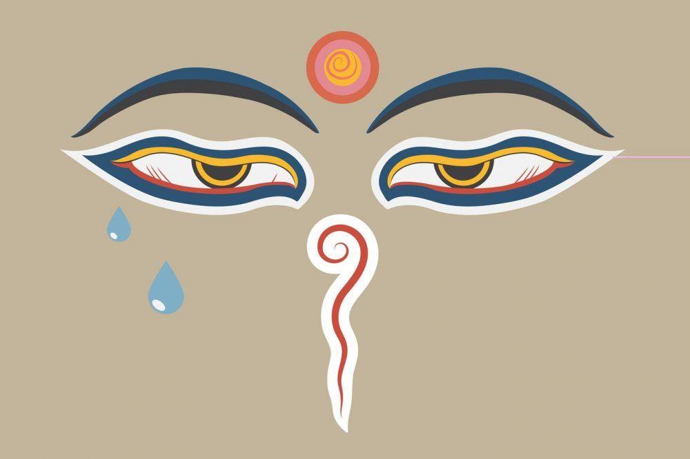 Budda-Augen mit Tränen