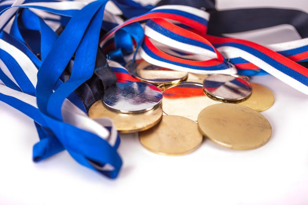 Gold and silver sport medals