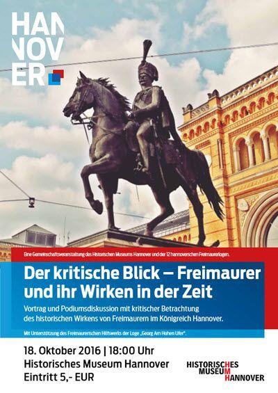 Plakat zur Podiumsdiskussion in Hannover über Freimaurer und ihr Wirken in der Zeit