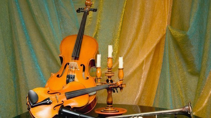 Still-life from a violin and other instruments