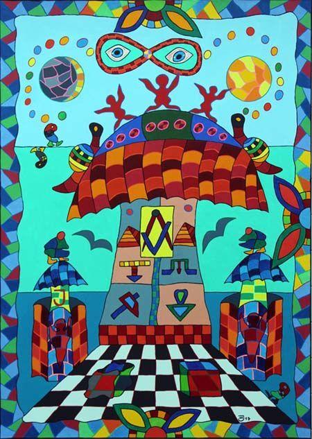 Künstlerischer Arbeitsteppich des Malers Michael Jansen