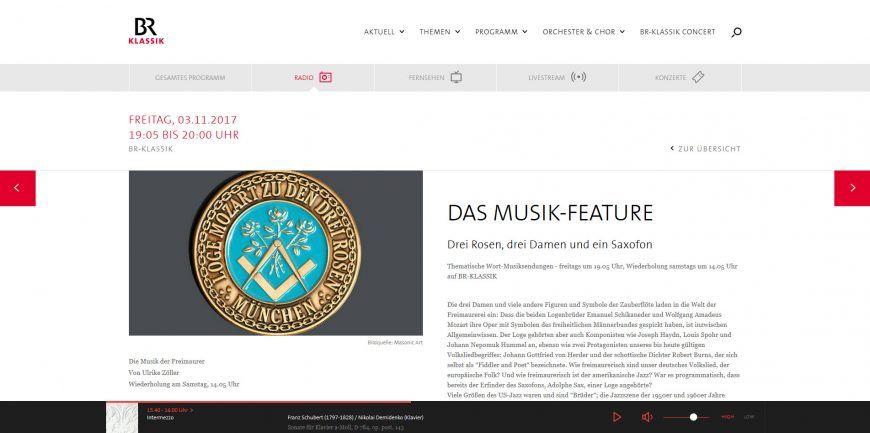 Website des Bayerischen Rundfunks mit dem Programmhinweis