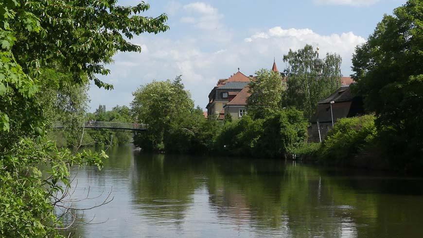 Die Regnitz prägt das Stadtbild Bambergs wesentlich.