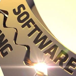Software Testing Golden Metallic Cogwheels. 3D Render.