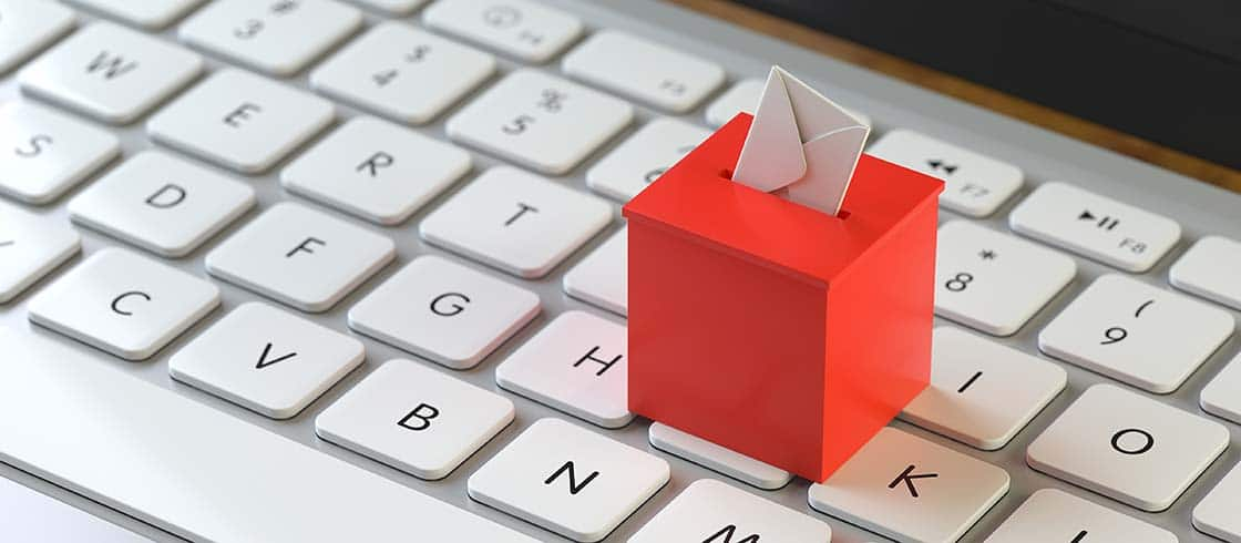 Vote Box On The Keyboard Of A Latop, 3d Rendering,conceptual Ima