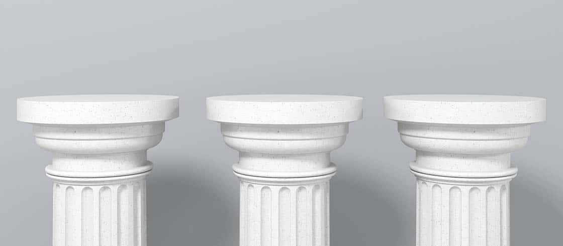 Exhibition Stand, Podium In The Form Of Classic Greek Doric Pil